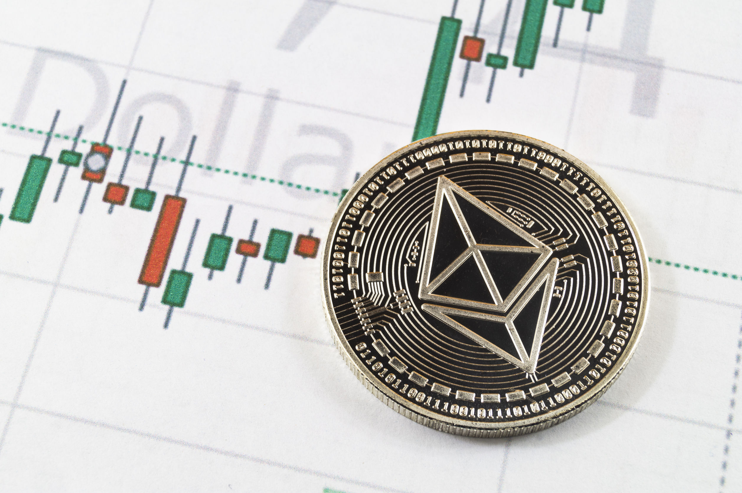 ethereum in front of a chart